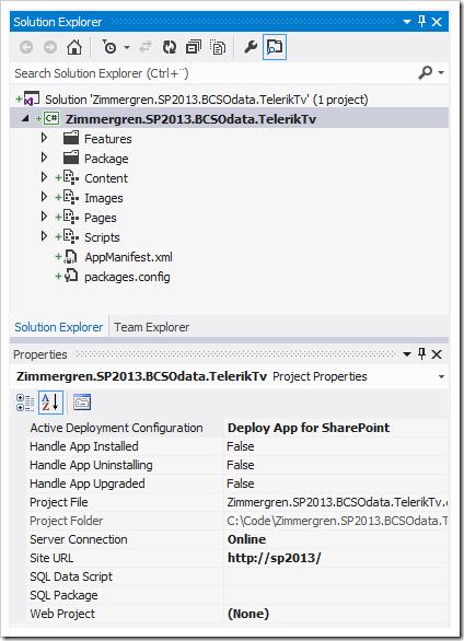 SharePoint 2013 bcs odata app project