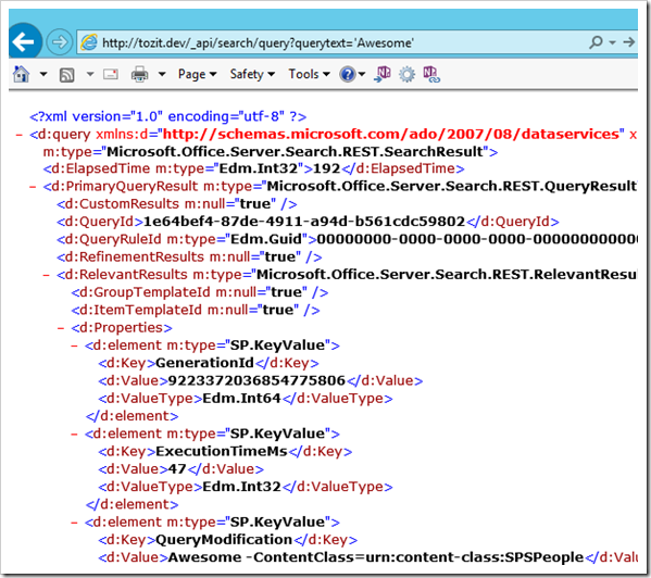 SP 2013: Searching in SharePoint 2013 using the REST new API's