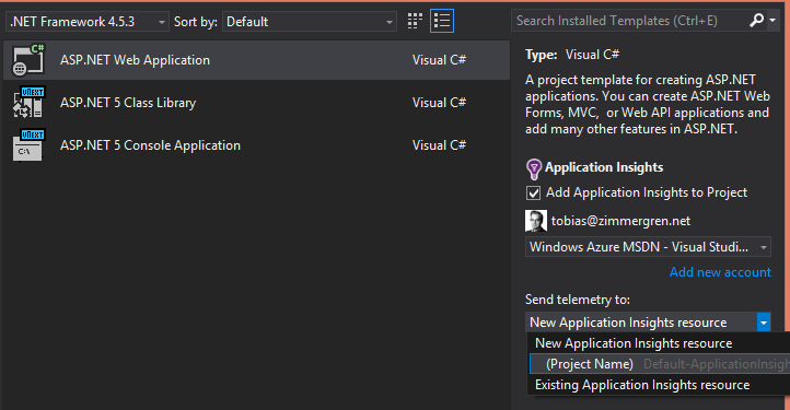 Getting Started with Application Insights with Visual Studio 2015 ...