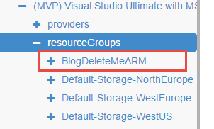 Azure Resource Manager - view new resource group