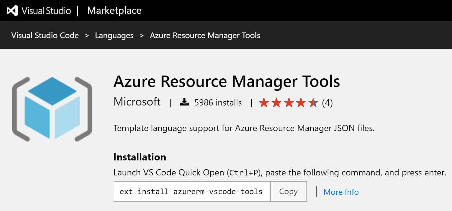 Azure Resource Manager tools for Visual Studio Code