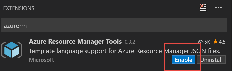 Enable Azure Resource Manager Tools for Visual Studio Code