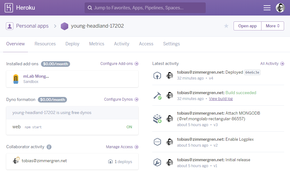 Heroku Dashboard for @zimmergren