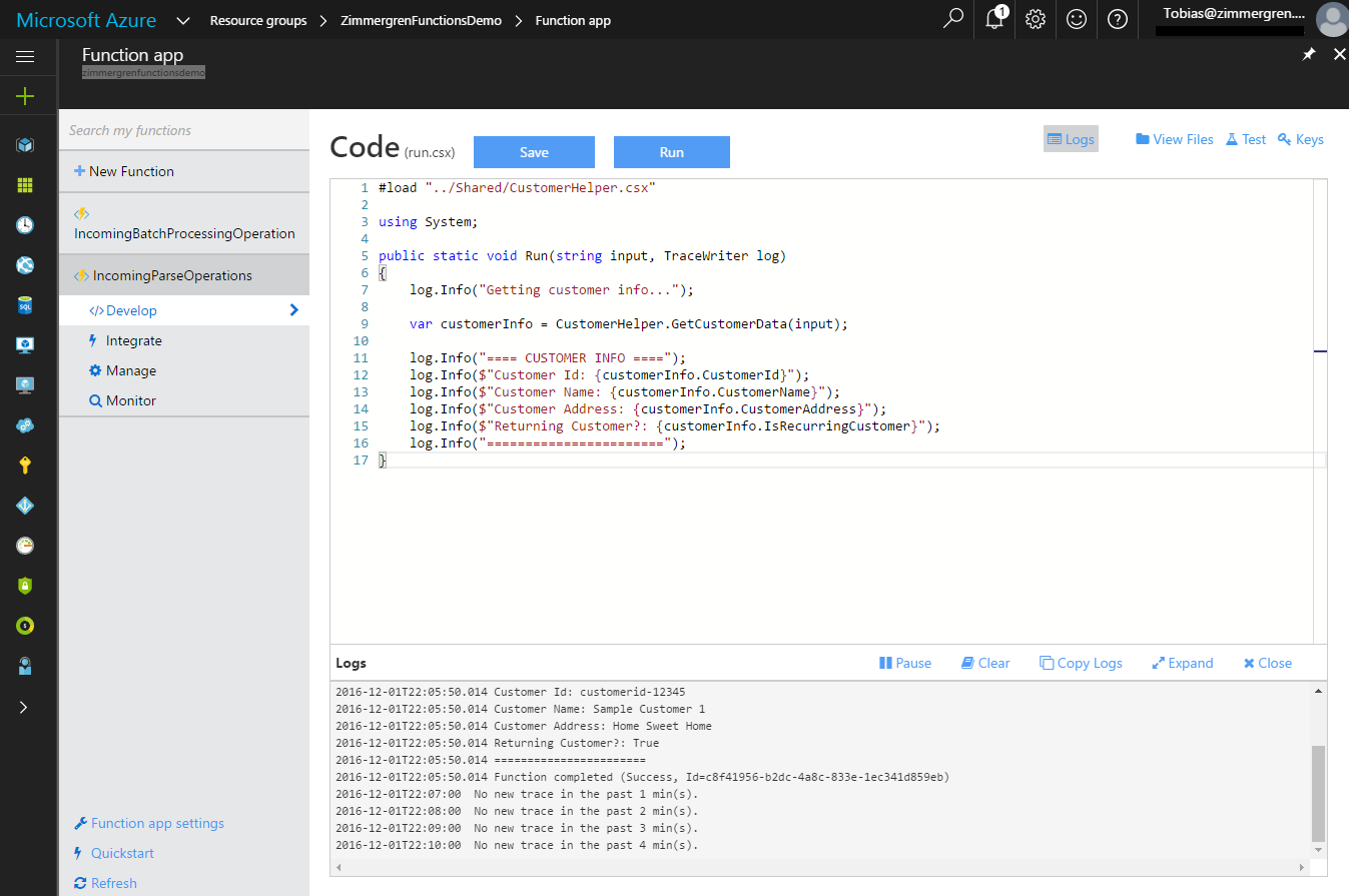 Azure Functions - Shared Code - Done