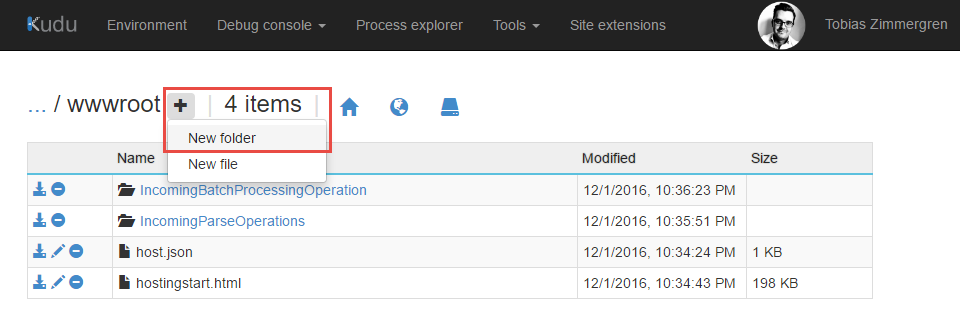 Azure App Service KUDU - New folder