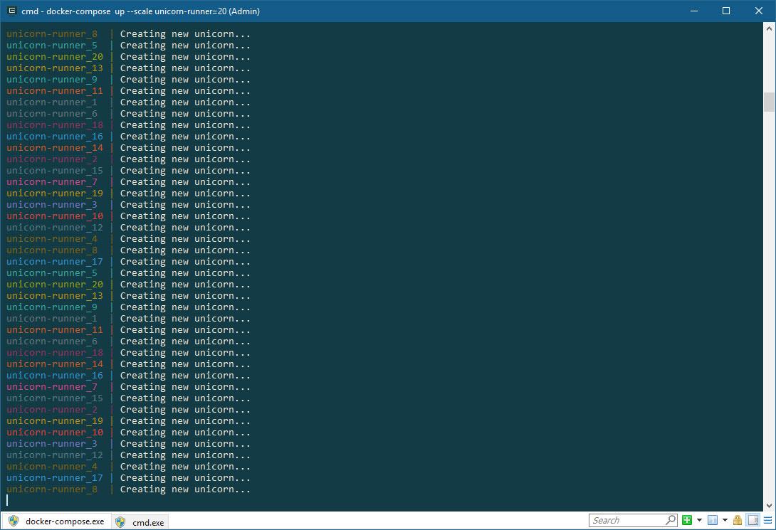 docker-compose up --scale unicorn-runner=20, screenshot
