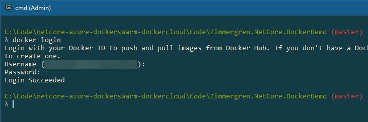 docker login, output