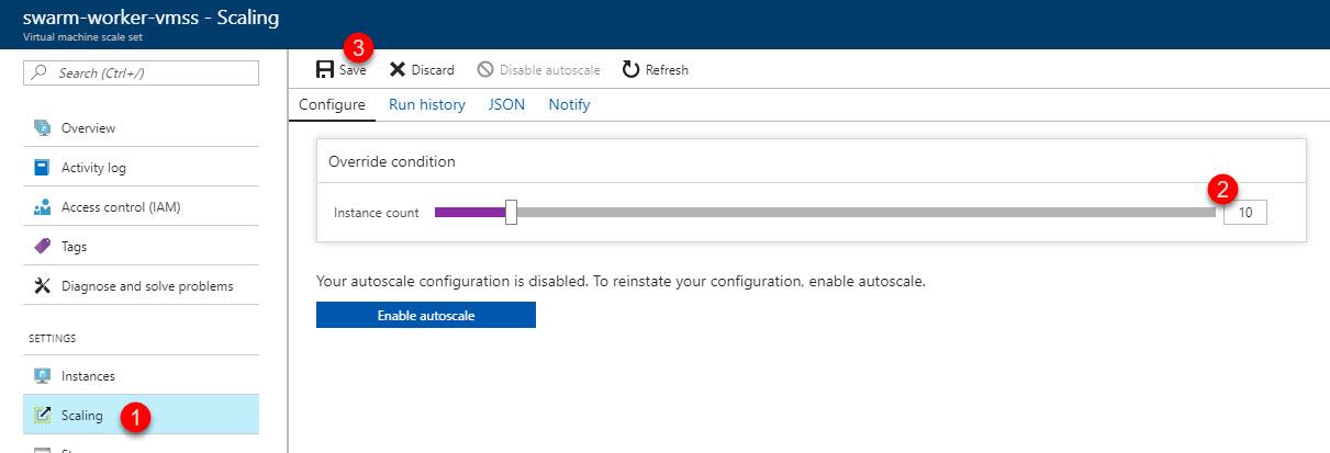 Scaling the Docker Swarm from Azure Portal