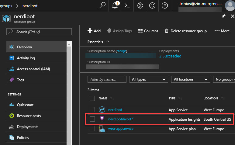 Application Insights resource in Azure Portal