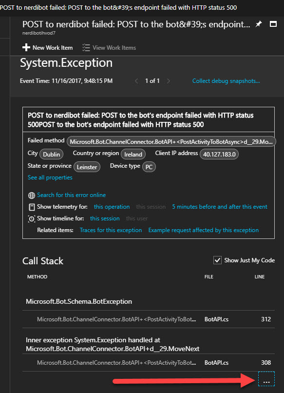 Application Insights showing Bot Framework 500 internal server error