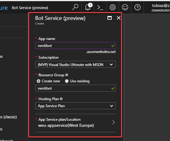 Create your bot in Azure by populating the details you want for your bot