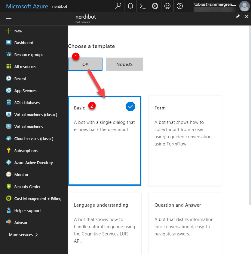Microsoft Bot Framework template selection in Azure
