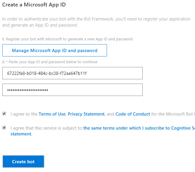 Enter AppId and Password into the registration page in Azure