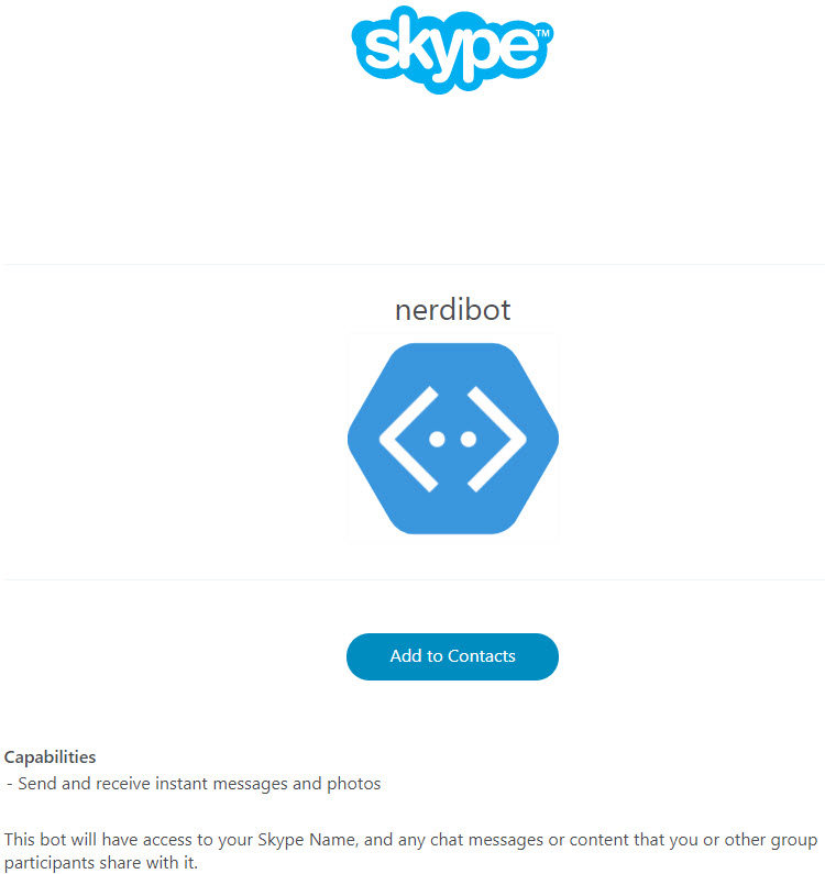 Add the nerdibot as a contact