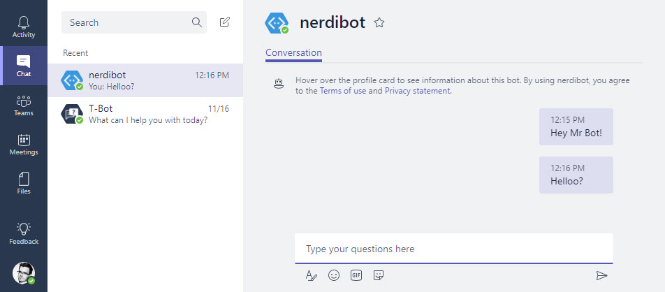 No reply from the bot