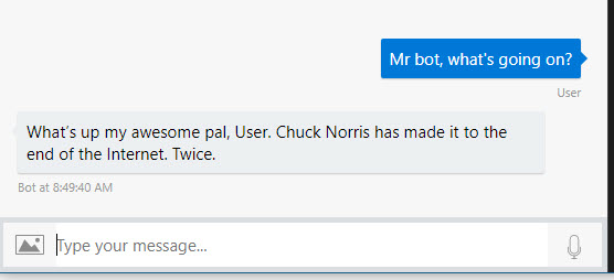 Bot Framework in action, showing the reply of Chuck Norris