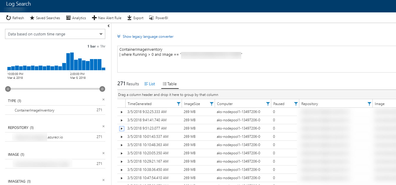 Azure Log Analytics Log Search for Kubernetes in AKS