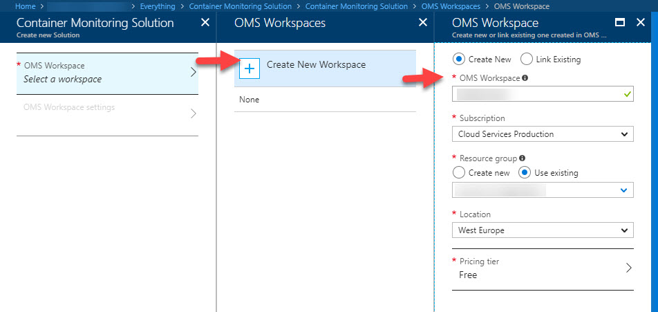 Create OMS Workspace