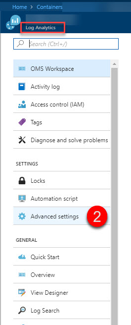 Select Advanced Settings in the OMS Workspace