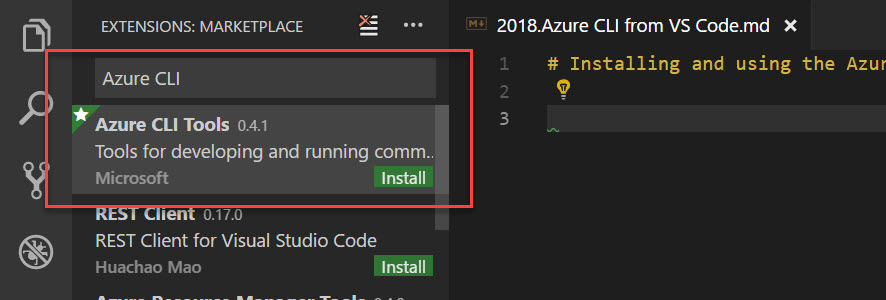 Install Azure CLI Tools extension in VSCode
