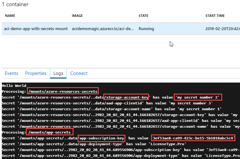 Azure Container Instances (ACI) and Secrets - Creating secret volumes and consume secrets using C# .NET Core