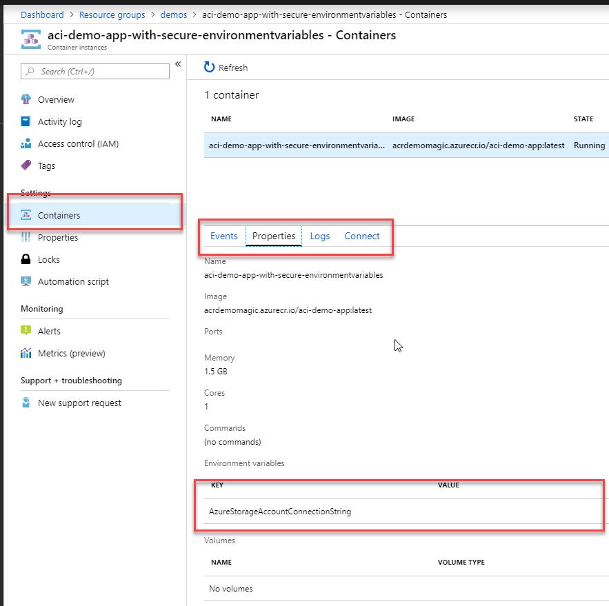 Azure Container Instances (ACI) and Secrets - Using Secure