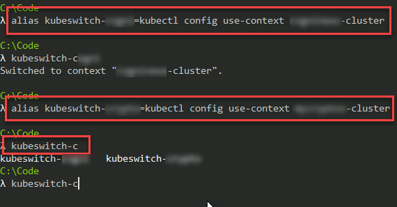 AKS: Quickly switching context between multiple clusters in Azure Kubernetes Services with cmder aliases