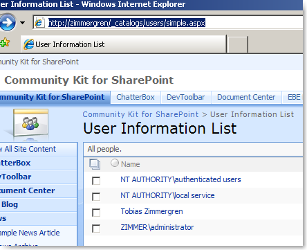 SharePoint's hidden user-list - User Information List