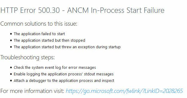 Solving ASP.NET Core running on Azure App Service causing 500.30 ANCM In-Process Start Failure