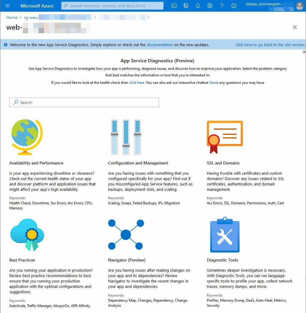 Use Azure App Service Diagnostics - Improve performance, best practices, security and more.