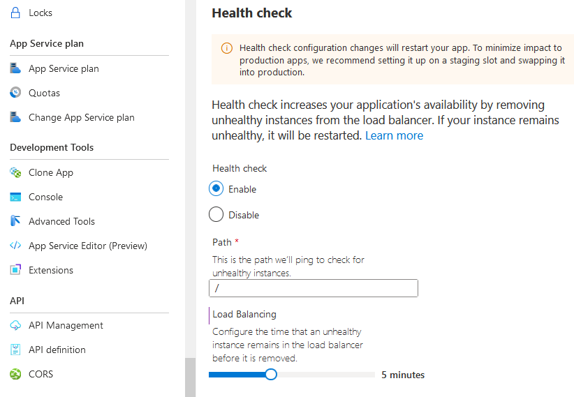 Azure App Service tips: Enable the Health-Check capabilities