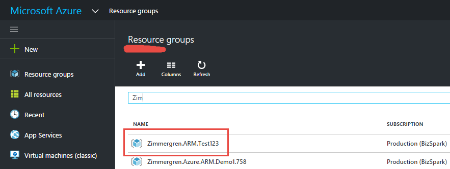 View your Azure Resource Groups in the Azure Portal and see your newly created resource group