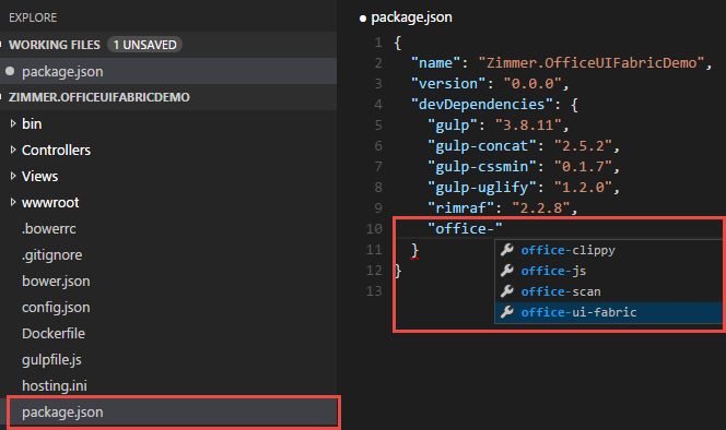 Creating an ASP.NET 5 site with Visual Studio Code - Part 3: Adding npm packages and automating tasks with Gulp (adding Office UI Fabric)