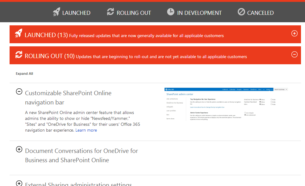Microsoft releases the Office 365 roadmap - and keeps it up to date